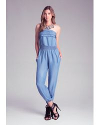Bebe Blue Chambray Jumpsuit - Lyst