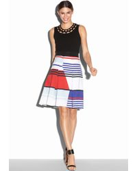 Milly Marina Stripe Inverted Pleat Skirt multicolor - Lyst