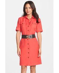 Tahari Belted Linen Blend Shirt Dress - Lyst