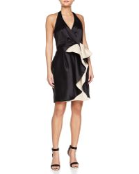 Halston Heritage Halter Dress With Wrap Front gold - Lyst