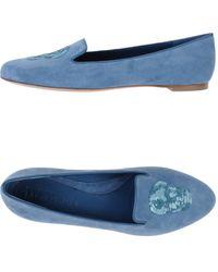 Alexander McQueen Blue Moccasins - Lyst