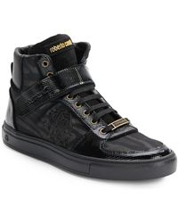 Roberto Cavalli Tiger Print High-Top Leather Sneakers - Lyst