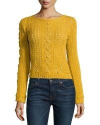 Philosophy di Alberta Ferretti Open-Knit Crop Sweater - Lyst