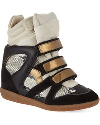 Isabel Marant Bonny Suede and Leather Wedge Trainers Blkbeige - Lyst