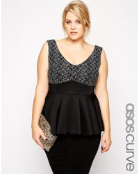 Asos Curve Peplum Top In Lace And Scuba Mix - Lyst