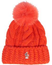Moncler Grenoble - Mink-fur Pompom Knitted Beanie Hat - Lyst