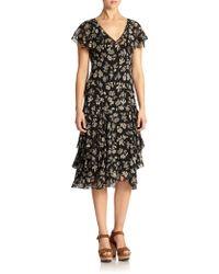 Polo Ralph Lauren Silk Floral Ruffled Dress - Lyst