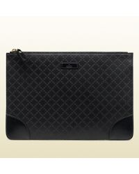 Gucci Diamante Leather Zip-top Pouch - Lyst