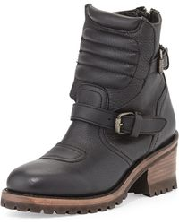 Ash Speed Double-buckle Leather Moto Boot Black 360b60b - Lyst