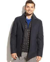 Michael Kors Michael Big And Tall Montrose Quilted-Bib Wool-Blend Coat - Lyst