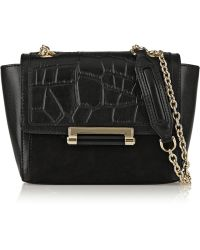 Diane Von Furstenberg 440 Mini Croc-effect Leather and Suede Shoulder Bag - Lyst