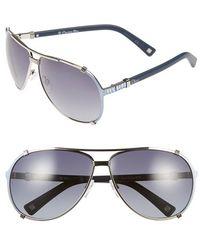 Dior Women'S 'Chicago 2 Strass' 63Mm Aviator Sunglasses - Palladium Azure - Lyst