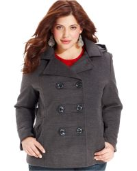 American Rag - Plus Size Double-Breasted Hooded Pea Coat - Lyst