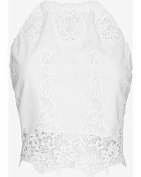 Miguelina Mari Lace Crop Halter Top - White