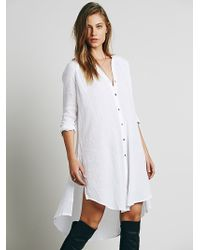 Free People Washed Buttondown Tunic - Lyst