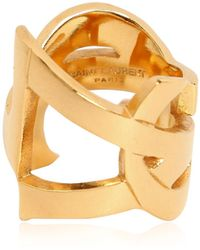 Saint Laurent Monogramme Gold Plated Brass Ring - Lyst