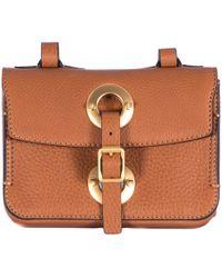 Valentino Brown Hammered Leather Shoulder Bag brown - Lyst