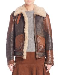 Polo Ralph Lauren Shearling Bomber Jacket - Brown