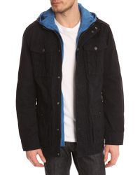Tommy Hilfiger Navy Safari Jacket With Removable Royal Blue Hood - Lyst