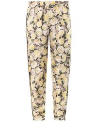 Adam Lippes Rose-Print Silk Trousers - Lyst