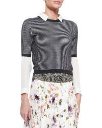 Haute Hippie Patterned Cropped Short-Sleeve Sweater - Lyst