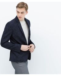 Zara Floral Jacquard Jacket - Lyst