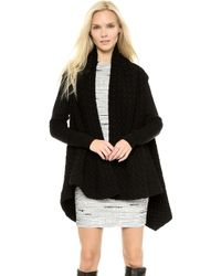 Cut25 By Yigal Azrouël Draped Jacket with Ribbed Sleeves  Jet - Lyst