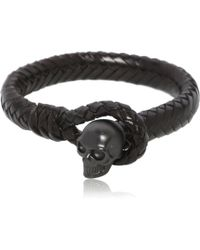 Alexander McQueen Braided Leather Bracelet With Skull black - Lyst