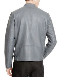 Kenneth Cole Reaction Men's Perforated Faux-leather Moto Jacket - Gray