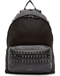 Givenchy Black Studded Leather Trimmed Backpack - Lyst