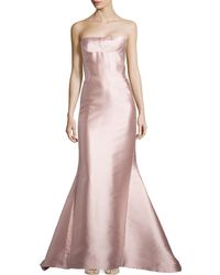 J. Mendel Strapless Silk Bustier Gown - Lyst