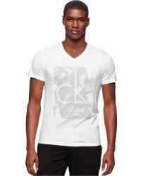 Calvin Klein Paint-Print T-Shirt white - Lyst