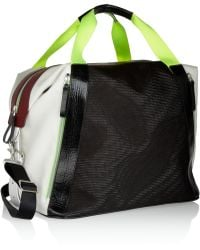 Monreal London Colorblock Leather Canvas and Mesh Holdall - Lyst