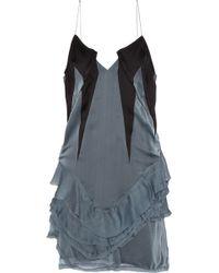 Haider Ackermann Ruffled Crepe-Paneled Silk-Chiffon Mini Dress - Lyst