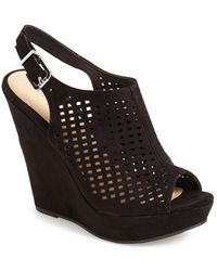 Chinese Laundry Meet Up Slingback Wedge Peep-Toe Sandals black - Lyst