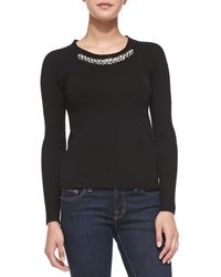 Rebecca Taylor Bead-neck Knit Pullover - Lyst