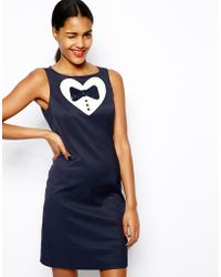 Love Moschino Shift Dress with Sequin Heart and Bow Detail - Lyst