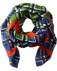 Marc By Marc Jacobs Printed Toto Plaid W Pop Border Scarf - Lyst