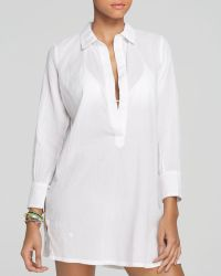 Ralph Lauren Lauren Crushed Cotton Breeze Shirt Cover Up - Lyst
