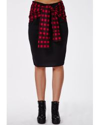 Missguided Plus Size Checked Tie Waist Midi Skirt - Lyst