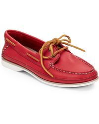 Clarks Jetto Leather Boat Shoesred - Lyst