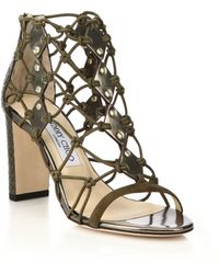 Jimmy Choo | Tickle Leather & Elaphe Netted Cage Sandals | Lyst