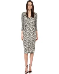 Just Cavalli 3/4 Sleeve V-Neck Printed Dress - Lyst