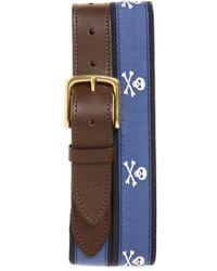 Vineyard Vines - 'crossbones' Leather & Canvas Belt - Lyst