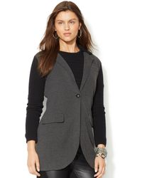 Lauren by Ralph Lauren Long-sleeve Colorblocked Sweater Coat - Lyst