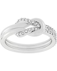 Swarovski - Voile Silvertone And Crystal Knot Ring - Lyst