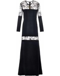 Elie Saab Lace-Panel Stretch-Cady Gown - Lyst
