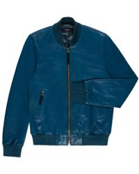 Paul Smith Petrol Blue Lamb-Leather Bomber Jacket - Lyst