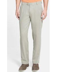 Tommy Bahama 'Havana' Pleated Herringbone Silk Blend Pants gray - Lyst