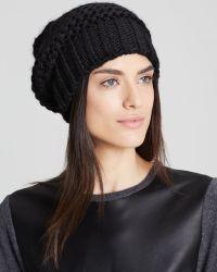 Bettina Waffle Slouchy Hat - Black